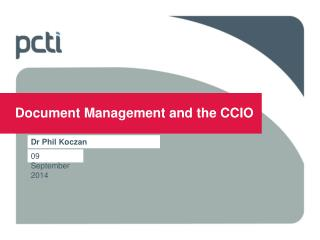 Document Management and the CCIO