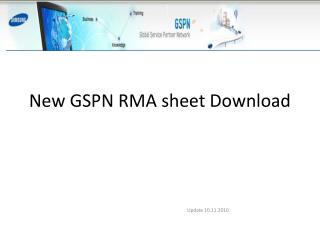 New GSPN RMA sheet Download