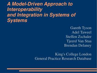 A Model-Driven Approach to Interoperability and Integration in Systems of Systems