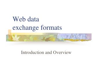 Web data  exchange formats