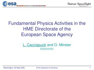 Fundamental Physics Activities in the  HME Directorate of the  European Space Agency