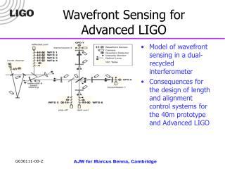 Wavefront Sensing for Advanced LIGO