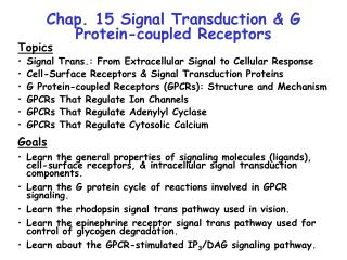 Chap. 15 Signal Transduction & G Protein-coupled Receptors
