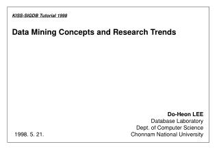 Data Mining Concepts and Research Trends