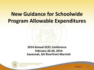 New Guidance for Schoolwide Program Allowable Expenditures