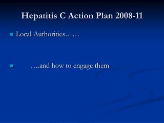 Hepatitis C Action Plan 2008-11