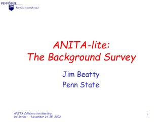 ANITA-lite: The Background Survey