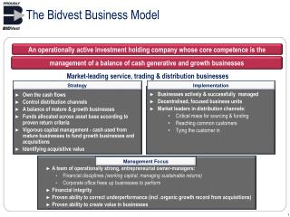 The Bidvest Business Model