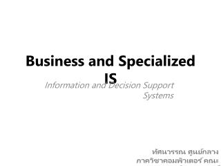 Business and Specialized IS