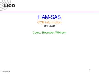 HAM-SAS CCB information 22 Feb 06 Coyne, Shoemaker, Wilkinson