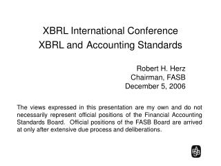 XBRL International Conference XBRL and Accounting Standards