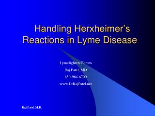 Handling Herxheimer's Reactions in Lyme Disease