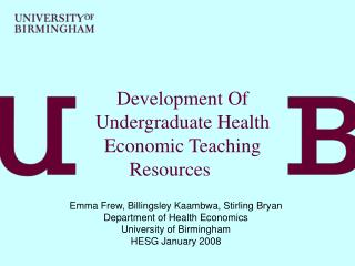 Development Of Undergraduate Health Economic Teaching Resources