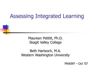 Assessing Integrated Learning