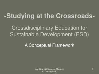 Crossdisciplinary Education for Sustainable Development (ESD)