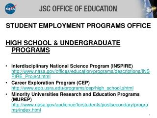 STUDENT EMPLOYMENT PROGRAMS OFFICE