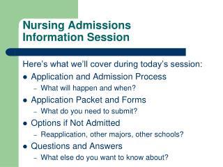 Nursing Admissions Information Session