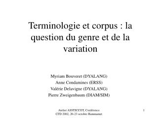 Terminologie et corpus : la question du genre et de la variation