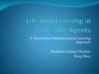Life-long Learning in Sociable Agents