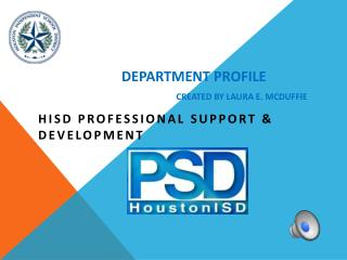 Department Profile Created by Laura E. McDuffie