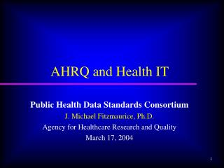 AHRQ and Health IT