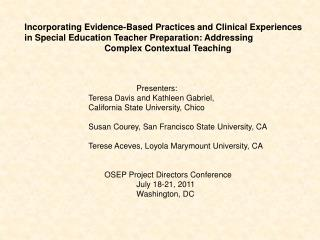Project Next Steps : Strengthening Preparation for Secondary Special Educators in Rural Schools