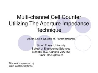 Multi-channel Cell Counter Utilizing The Aperture Impedance Technique