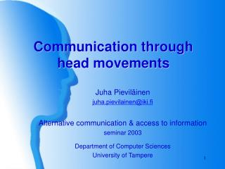 Communication through head movements