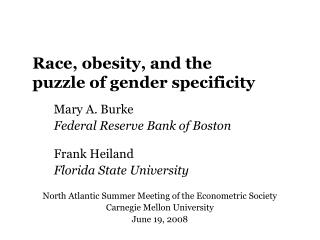 Race, obesity, and the puzzle of gender specificity