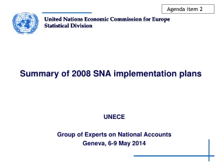 Summary of 2008 SNA implementation plans