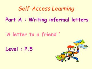 Self-Access Learning