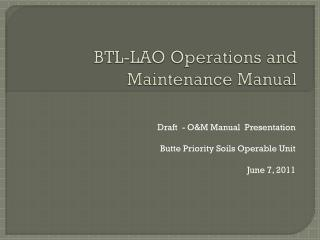 BTL-LAO Operations and Maintenance Manual