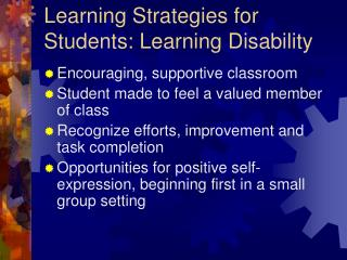 Learning Strategies for Students: Learning Disability