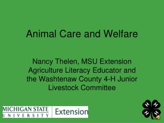 Animal Care and Welfare