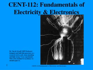 CENT-112: Fundamentals of Electricity & Electronics