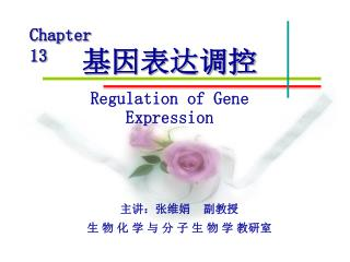 基因表达调控 Regulation of Gene Expression