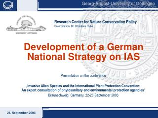 Development of a German National Strategy on IAS