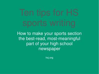 Ten tips for HS sports writing