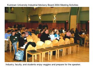 Industry, faculty, and students enjoy veggies and prepare for the speaker.