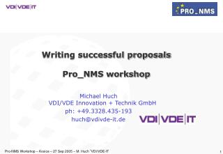 Writing successful proposals Pro_NMS workshop