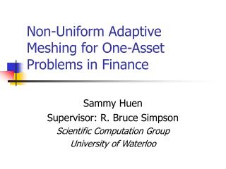 Non-Uniform Adaptive Meshing for One-Asset Problems in Finance