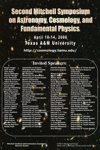 Second Mitchell Symposium on Astronomy, Cosmology, and Fundamental Physics