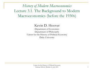 Macroeconomic Issues are Old