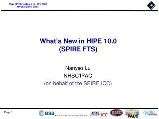What ' s New in HIPE 10.0 (SPIRE FTS)