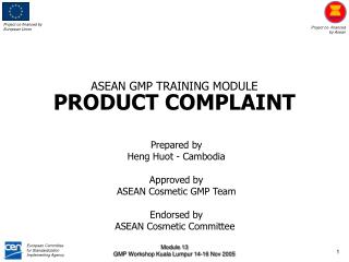 ASEAN GMP TRAINING MODULE PRODUCT COMPLAINT