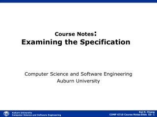 Course Notes : Examining the Specification