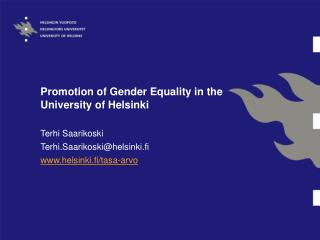 Promotion of Gender Equality in the University of Helsinki