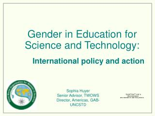 Gender in Education for Science and Technology: