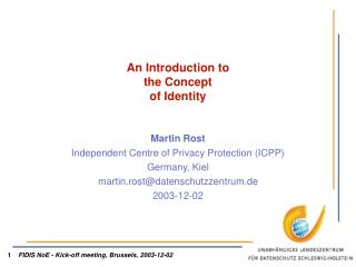 An Introduction to  the Concept   of Identity