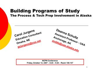 Building Programs of Study The Process & Tech Prep Involvement in Alaska